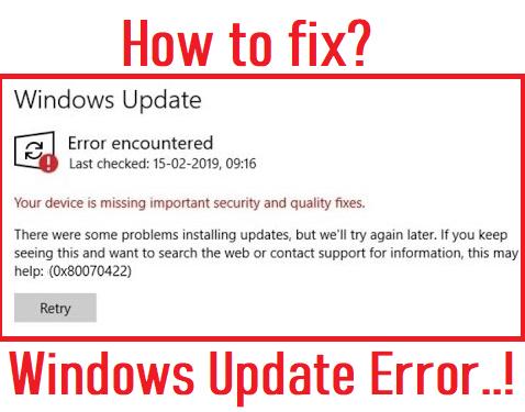 windows update 0x80070422