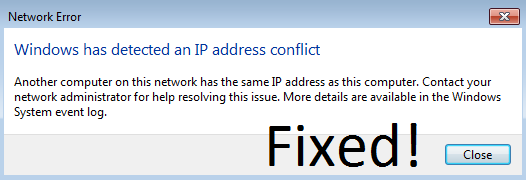 Fix Windows has detected an IP address conflict error message