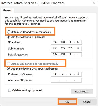 Ethernet IP Address Configuration