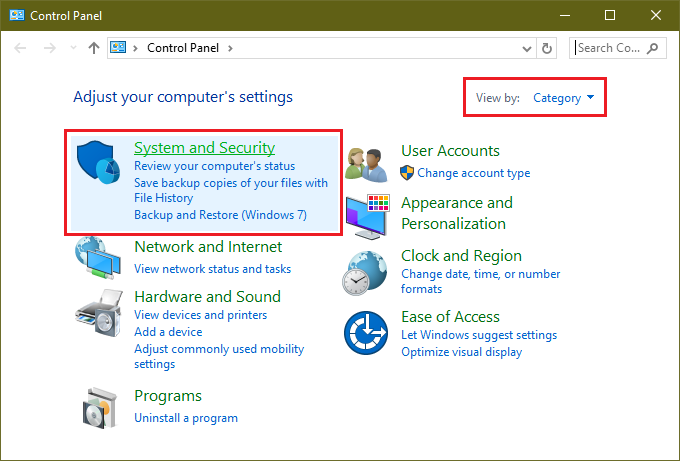 control panel category system and security