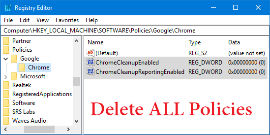 delete chrome policies