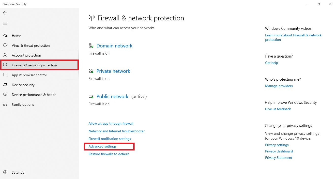firewall advanced settings