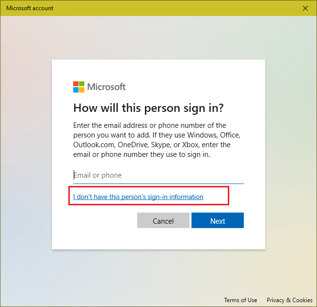 no microsoft account