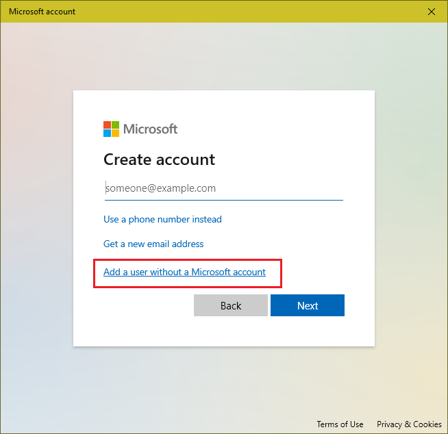 user account without microsoft account