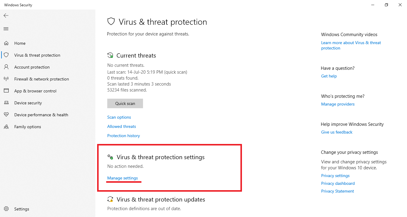 virus and threat protection manage settings