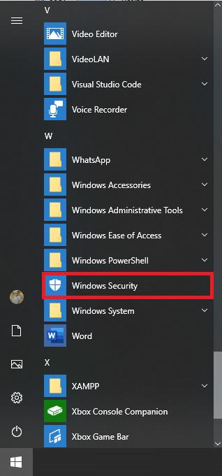 windows security start menu windows 10