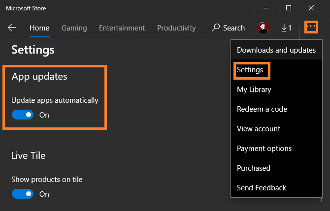 Microsoft Store auto updates disable