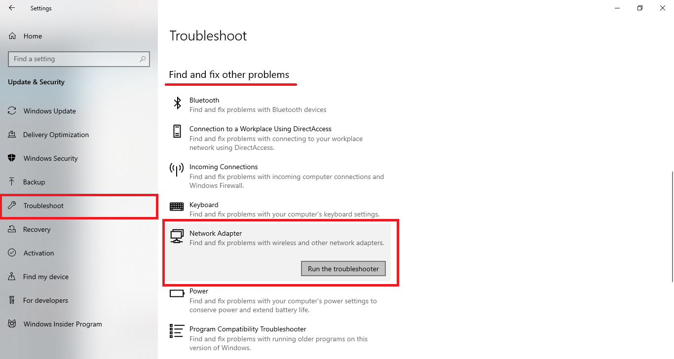network adapter troubleshoot