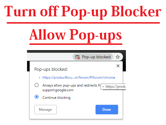 how to turn off pop-up blocker chrome