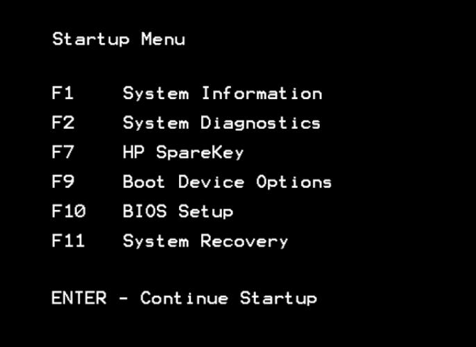 hp startup menu