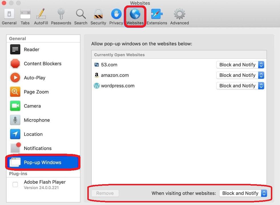 turn off pop-up blocker mac
