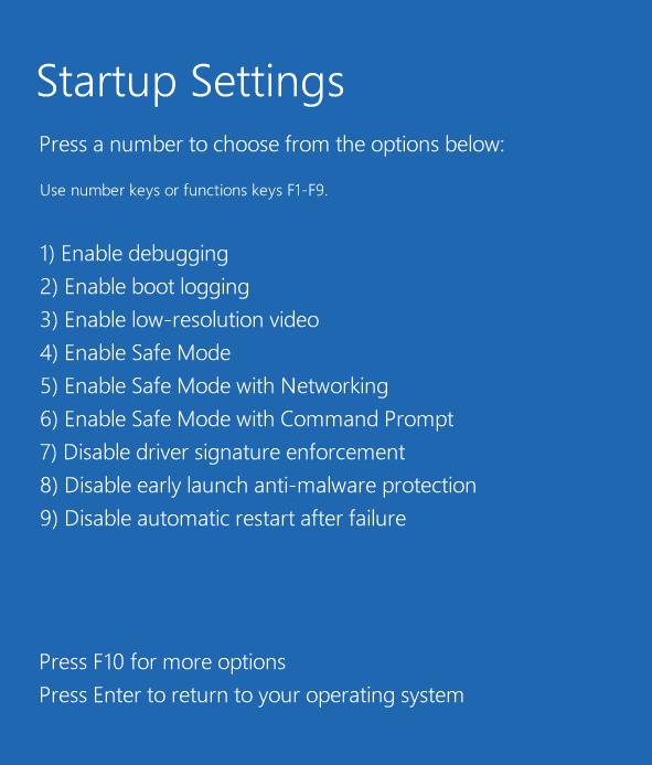 startup settings options windows 10
