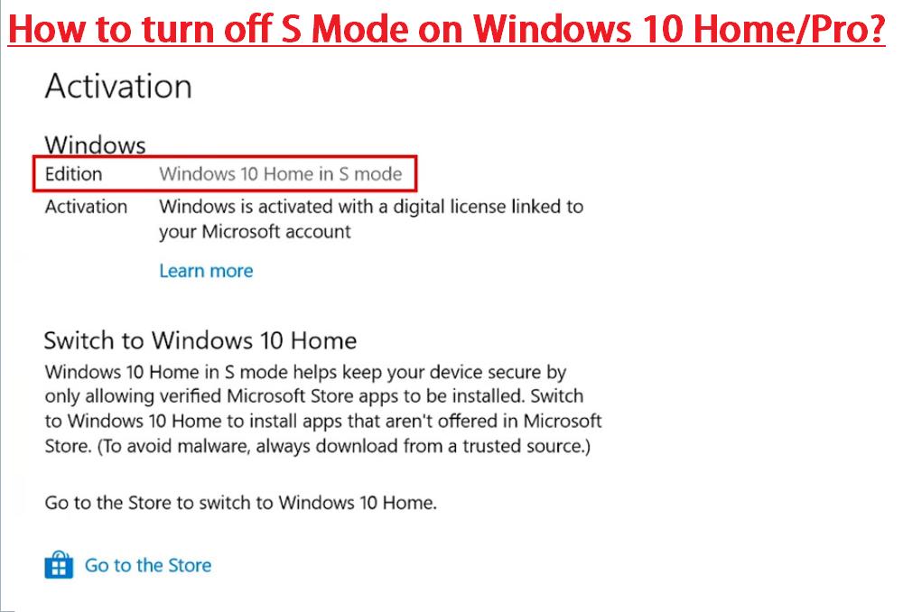 turn off s mode windows 10