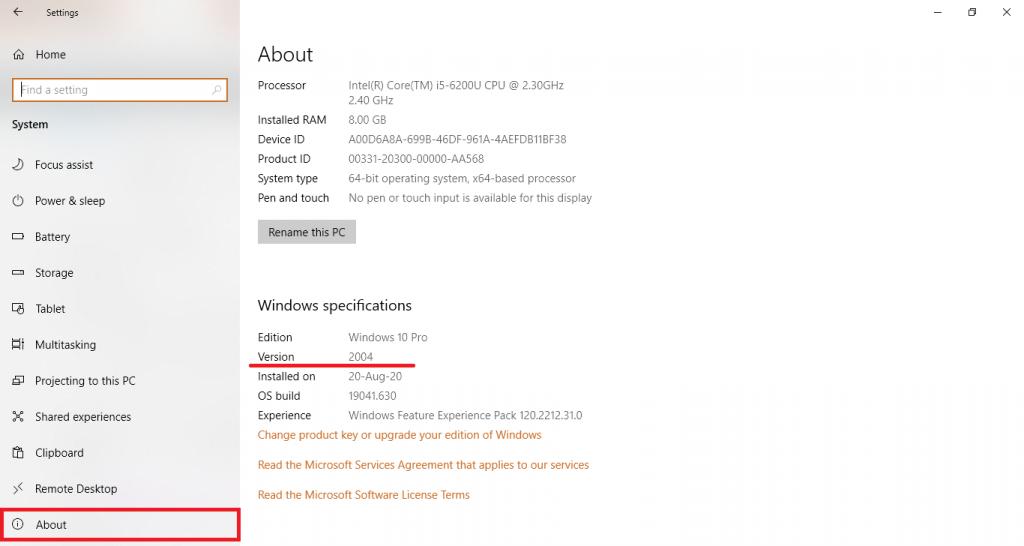 about windows 10 version