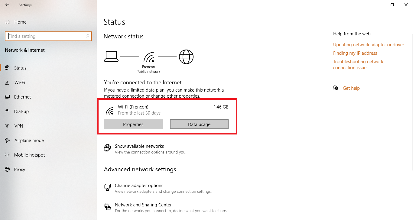 data usage connected network windows 10