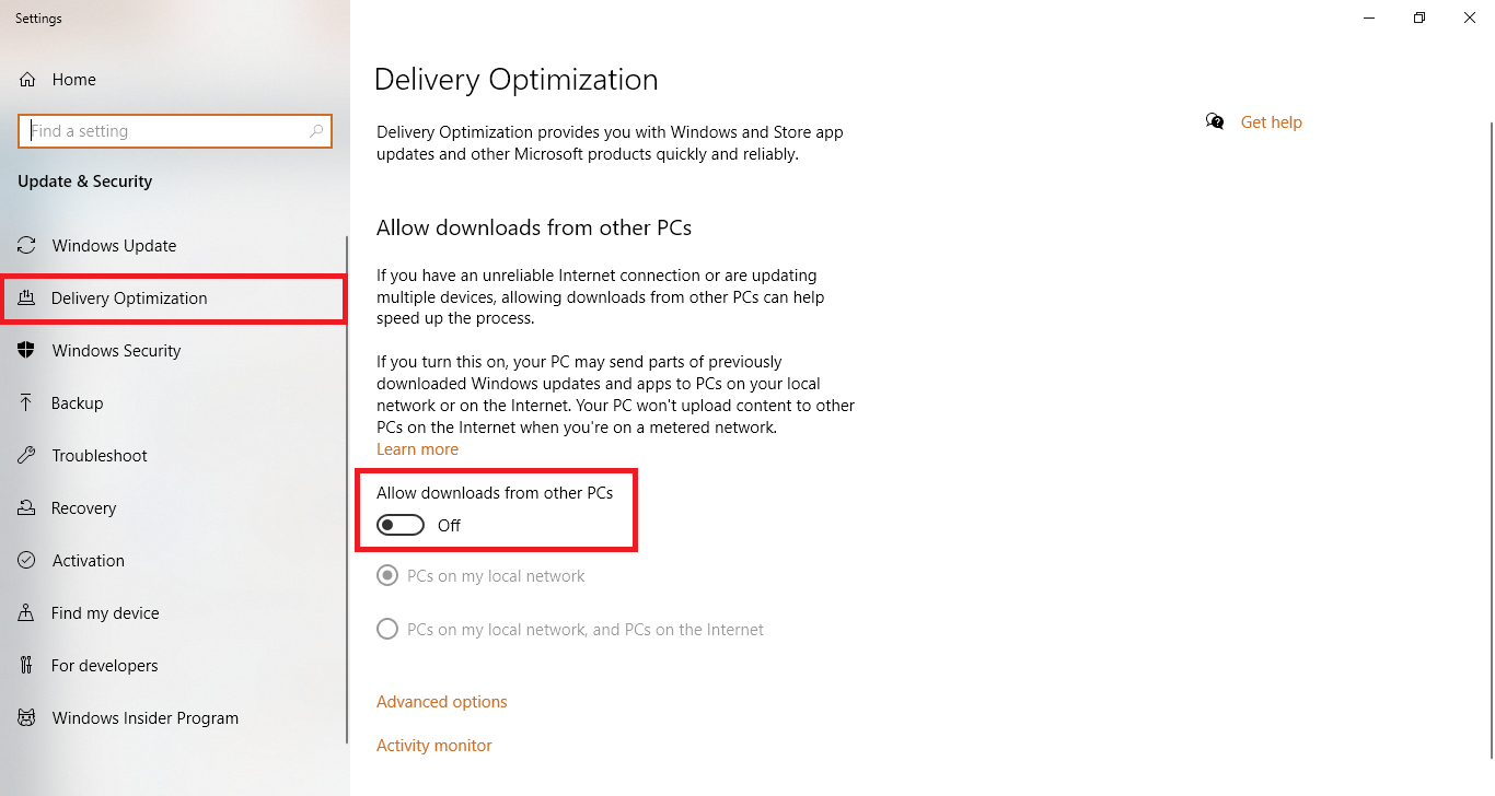 delivery optimization turn off