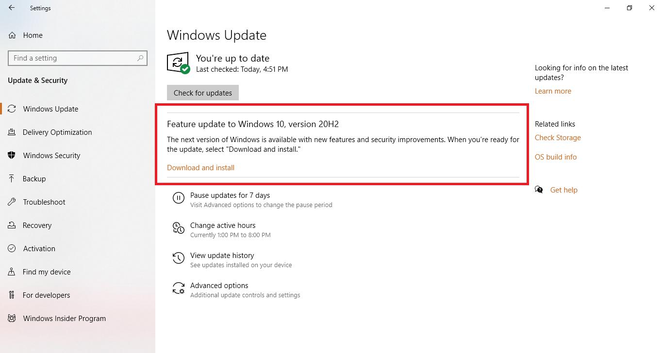 feature update windows 10
