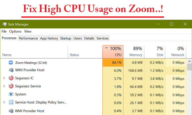 high cpu usage on zoom