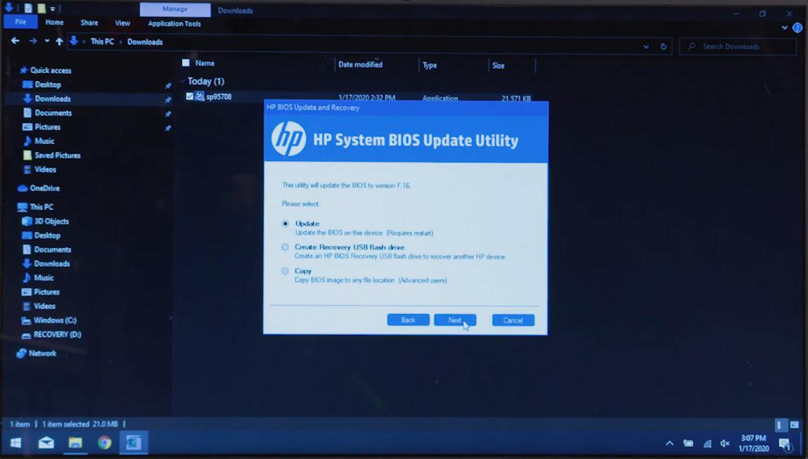 hp system bios update utility