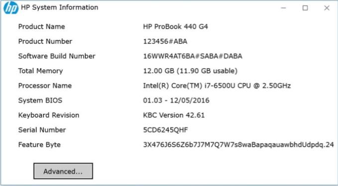 hp serial number product bios version