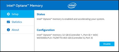 intel optane memory app status active