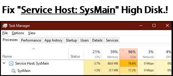 service host sysmain high disk