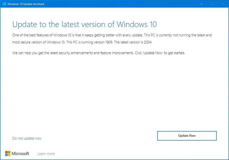 update now windows 10 update assistant