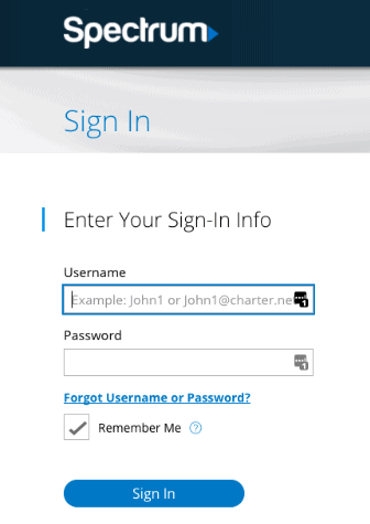 Enter username and password for sign in
