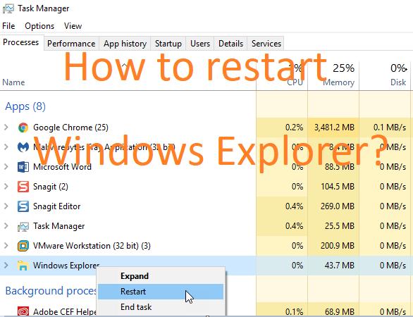 How to Restart Windows Explorer
