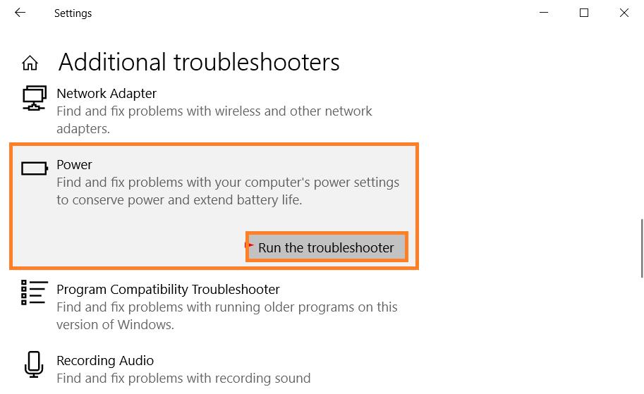 Run Power troubleshooter