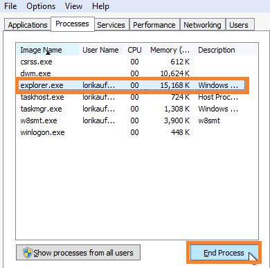 Windows 7 restart Windows Explorer