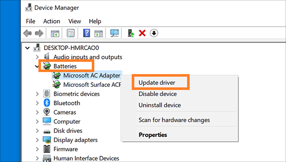 Update battery driver