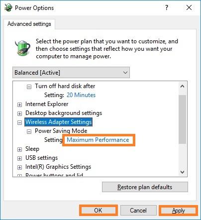 Set Wifi adapter power settings to maximum performance