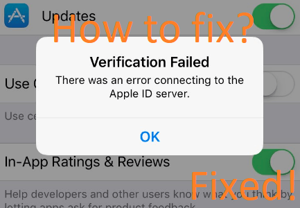 Apple ID verification failed