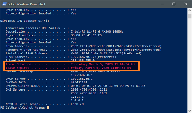 How to check DHCP Lease Time on Windows 10