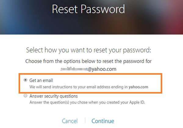 Select Get an email option