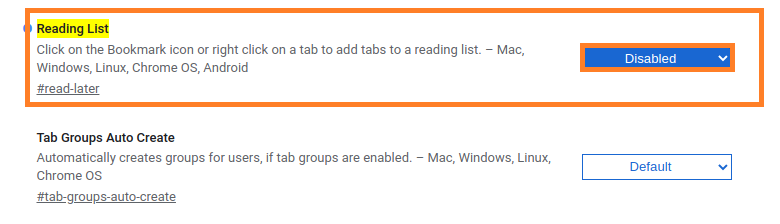 Disable Reading List