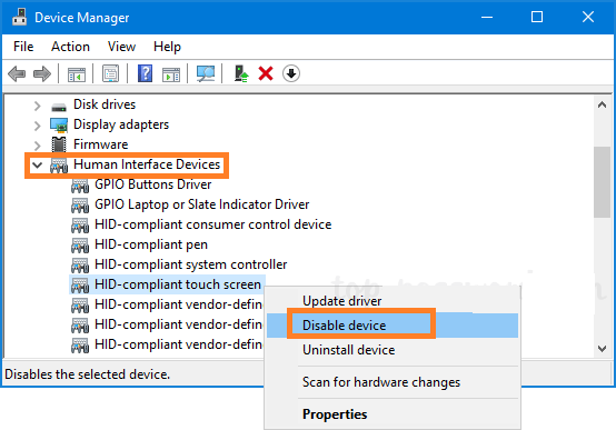 Disable and enable touch screen on Windows 10