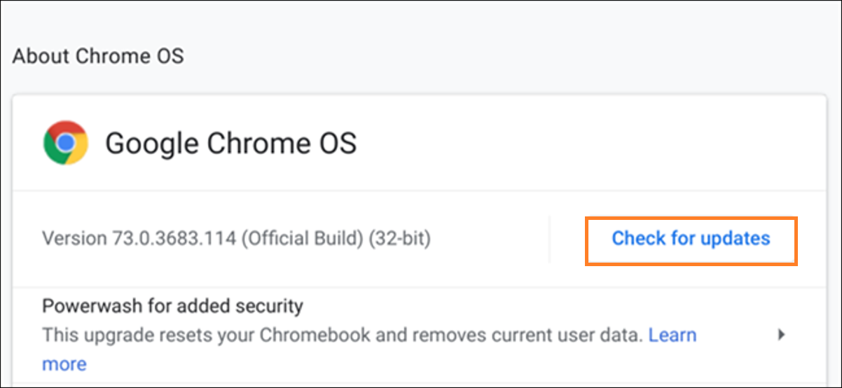 update OS on Chrome