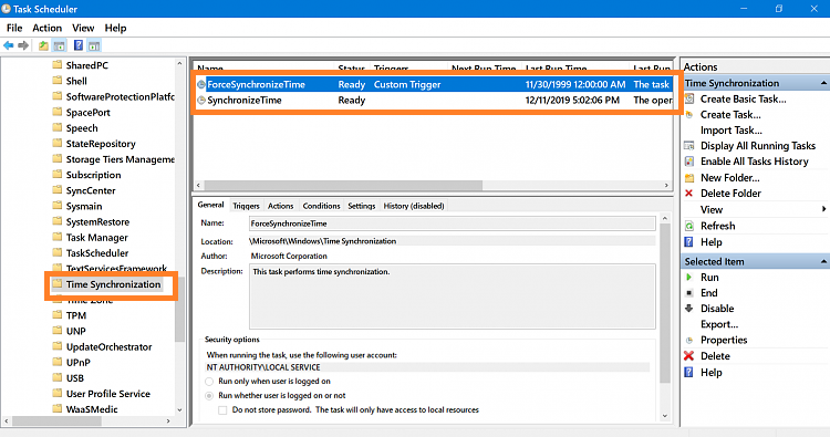 Enable Time Synchronization using Task Scheduler