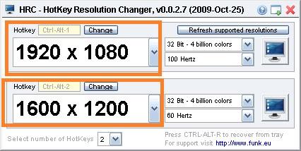 HotKye Resolution Changer