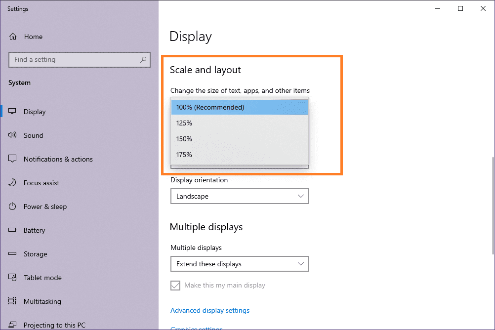 How to Change Font Size on Windows 10 using scaling and layout feature