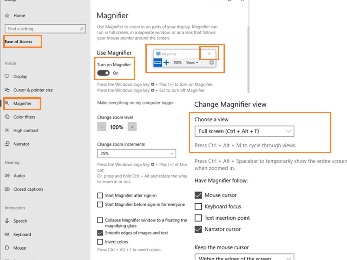 How to Zoom in and Zoom using Magnifier