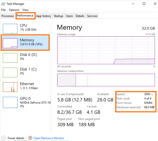 How to check RAM using Task Manager