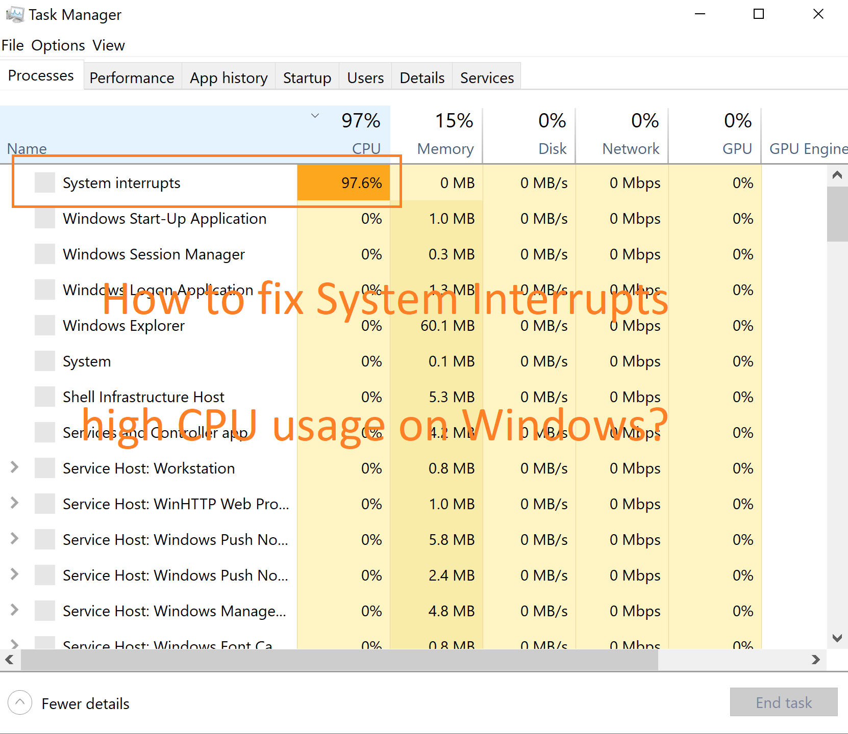 How to fix System Interrupts 100% High CPU Usage