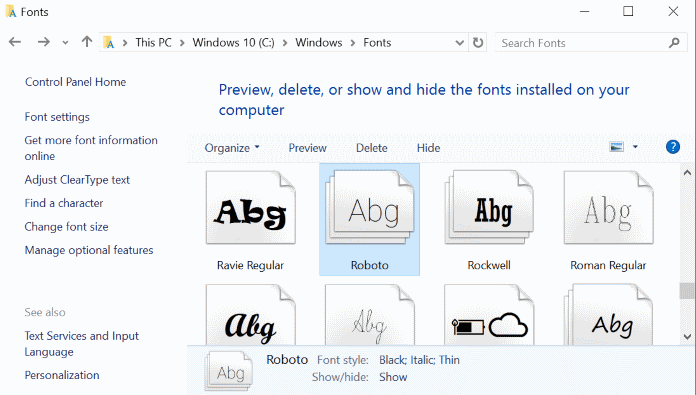 How to install font on Windows 10