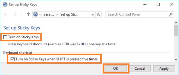 How to turn off Sticky Keys using desktop icon