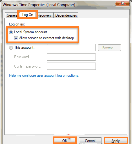 Start Windows Time service using Local System account