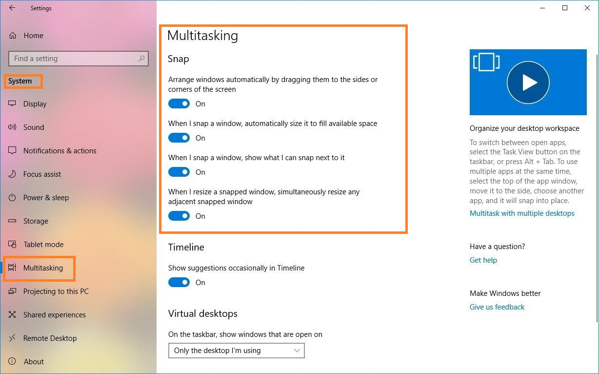 Steps to enable Snap assist feature on Windows 10