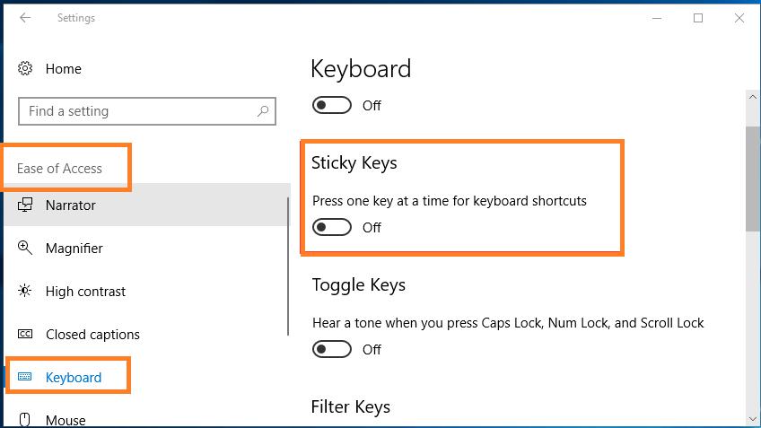 Turn off Sticky Keys using settings